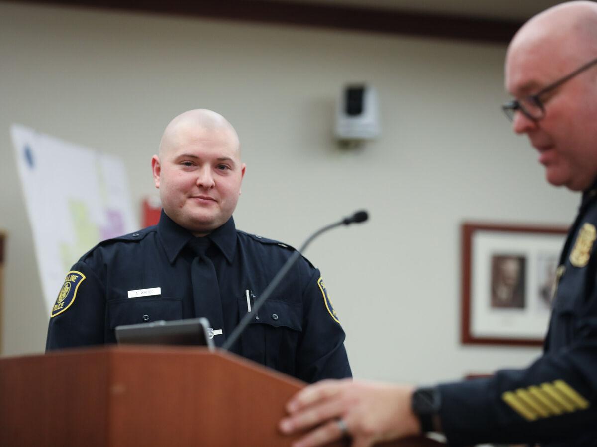 Saline Police Officer Andrew Whited Sworn In Before City ...