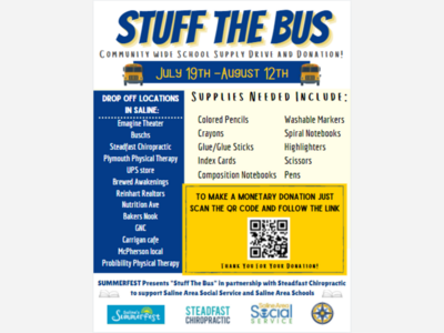 STUFF THE BUS: Help Saline Students Get the School Supplies They Need!