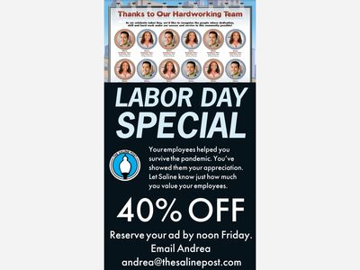 Sept. 2 Advertising Options: Labor Day Staff Appreciation, Saline Flavorites Dining Guide and More